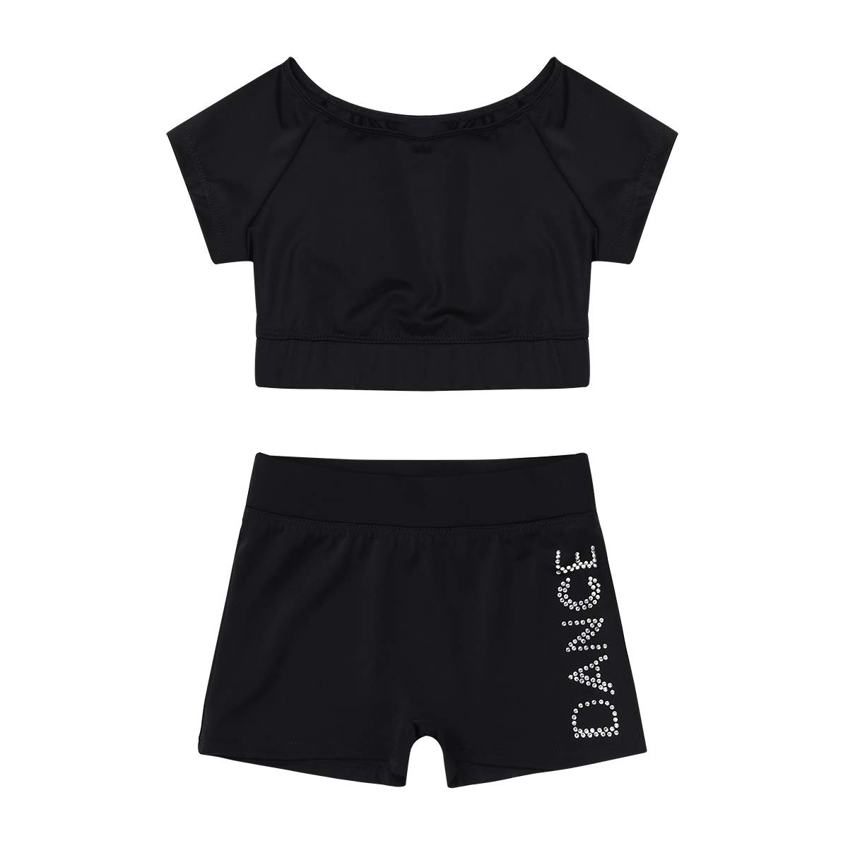 Short Sleeves Black Agoky Kids Girls' Top and Booty Shorts Ballet Dance Gymnastics Sports Leotard or Swimwear Swimming Costumes
