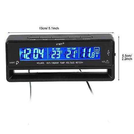 Garsent - Termómetro Digital para Coche con Pantalla LCD, Pantalla LCD, Alerta de congelación