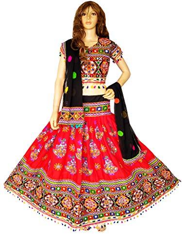 (Nanda Women Rayon Gujarati Kutchi Embroidered Chaniya Choli Navratri Wear Chaniya Choli Kutchi Dress Garba Costume Original Mirror Work Ghagra Choli Red Free Size)