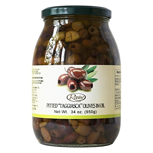 Nicoise Olives - Taggiasca Italian Pitted Olives in Extra Virgin Olive Oil 34 Ounce