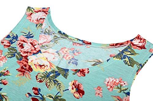 KorMei - Vestido - trapecio - Estrellas - Cuello redondo - Sin mangas - para mujer Grün Blume