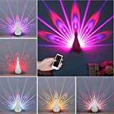 NOPTEG Peacock Projector Lamp 7 Colors USB Rechargeable Animal Peahen Wall Corridor Lights Kids Children Baby LED Night Light for Room