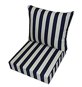 Navy Blue And Ivory Stripe Cushions For Patio