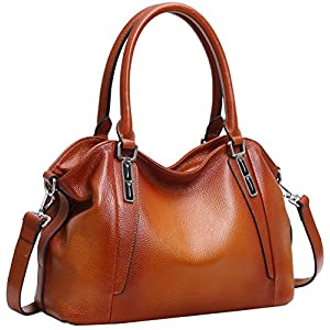 Iswee Women's Top Handle Handbag Soft Leather Shoulder Purse Tote Fashion Hobo Bag (Brown)