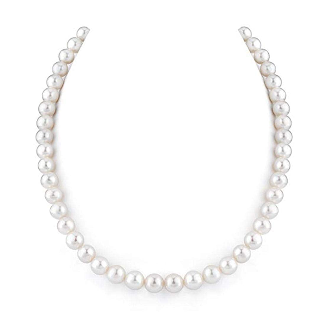 Natural A Quality Round White Cultured Freshwater Pearl Necklace for Women Anniversary Birthday Mother's Gifts Adabele