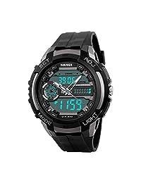 Lintimes Men's Analog Digital Multifunctional Sport Dual Time Wrist Watch Titanium