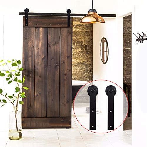 Globents - Kit de herramientas para puerta corredera de granero resistente de 3 m, barra simple, súper suave y silencioso, negro: Amazon.es: Bricolaje y herramientas