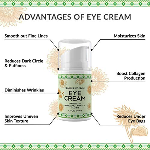 51Fh0J8xbHL - Nourishing Eye Cream for Dark Circles, Fine Lines, Sagginess & Puffiness. Best Under & Around Eyes Moisturizing Treatment with Organic Jojoba oil, Vitamin E & Witch Hazel by Simplified Skin 1.7 oz
