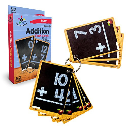 Star Right Education Addition Flash Cards, 0-12, 52 Cards, with 1 Ring, for Ages 6 and Up