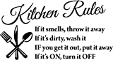 "Black 22"" X 13"" Kitchen Rules Art Home Mural Wall Art Sayings Vinyl Sticker Décor Decal"