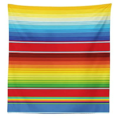 Mexican Decorations Tablecloth Horizontal Colored Ethnic Blanket Rug Lines Pattern Bright Decorative Design Dining Room Kitchen Rectangular Table Cover Multi