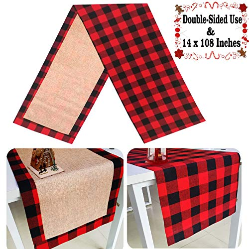 Senneny Christmas Table Runner Burlap & Cotton Red Black Plaid Reversible Buffalo Check Table Runner for Christmas Holiday Birthday Party Table Home Decoration (14 x 108 Inch)