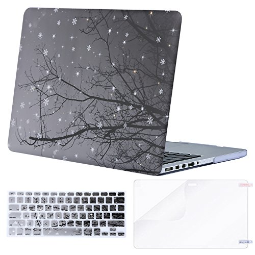 MOSISO Plastic Pattern Hard Case Only Compatible MacBook Pro (W/O USB-C) Retina 13 Inch (A1502/A1425)(W/O CD-ROM) Release 2015/2014/2013/end 2012 & Keyboard Cover & Screen Protector, Snow on Tree