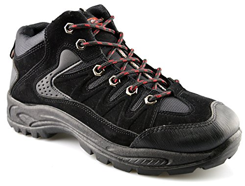 Mens New Hiking Walking Trail Lace Up Grip Sole Ankle Boots Shoes Size 6-13 Black PhcrNDUh7