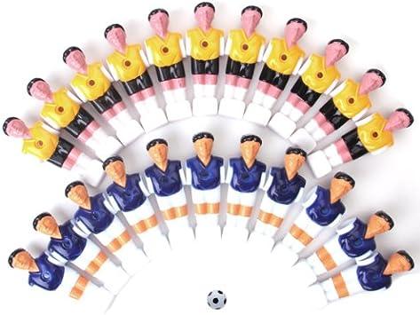22pcs futbolín hombre mesa chicos Hombre jugador de fútbol parte amarillo + Royal azul con bola: Amazon.es: Juguetes y juegos