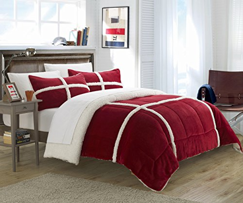Price comparison product image Chic Home 7 Piece Chloe Sherpa Bed in Bag Comforter Set, Queen, Red, with White Sheet Set