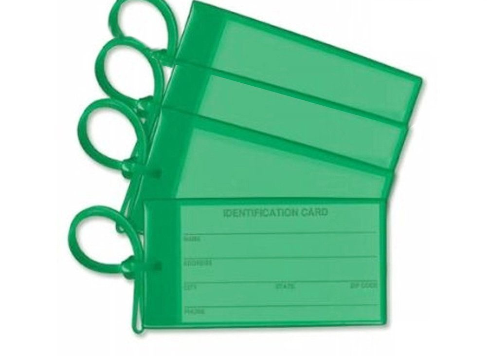 4 Green Luggage Tags Made in USA Stylish Bag Tag Travel ID Labels For Baggage Suitcases Bags Identification Card Fully Bendable by NPGD