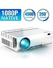 Proyector 4500 Lúmenes ABOX A6, Resolución Nativa 1920*1080P, LED Video Proyector de Cine en Casa Soporte 4K Full HD Upgraded, Contraste 4000: 1, con Audio Hi-Fi y Multiples Interfaces