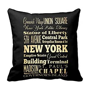 New York City of New York State Typography Art pillow case 16x16