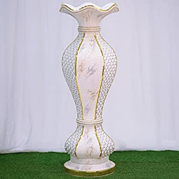 "Efavormart 48"" Shimmering Gold Glittered Marble Design Floor Flower Pot Vase With Pearls and Mirror Mosaic Embellishment"