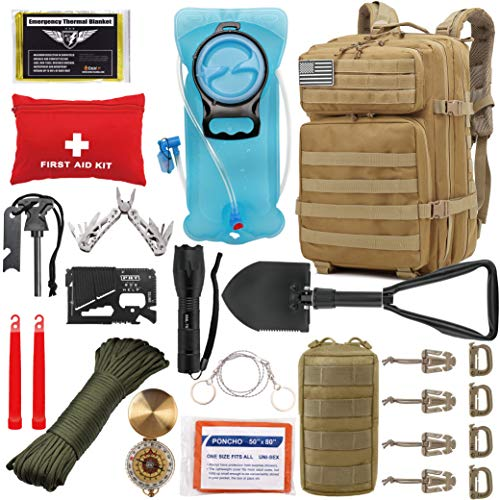 EVERLIT 42L Tactical Backpack Survival Kit Bugout Bag Assault Pack Rucksack with Hydration Bladder and Survival Gear 3 Day Rucksack Molle Outdoor Hiking Daypack Hunting (Tan)