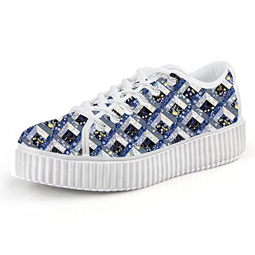 FOR U DESIGNS Classic Women Low Top Lace Up Plaid Running Sneaker Skate Shoes US 7 - Classic Plaid Sneakers