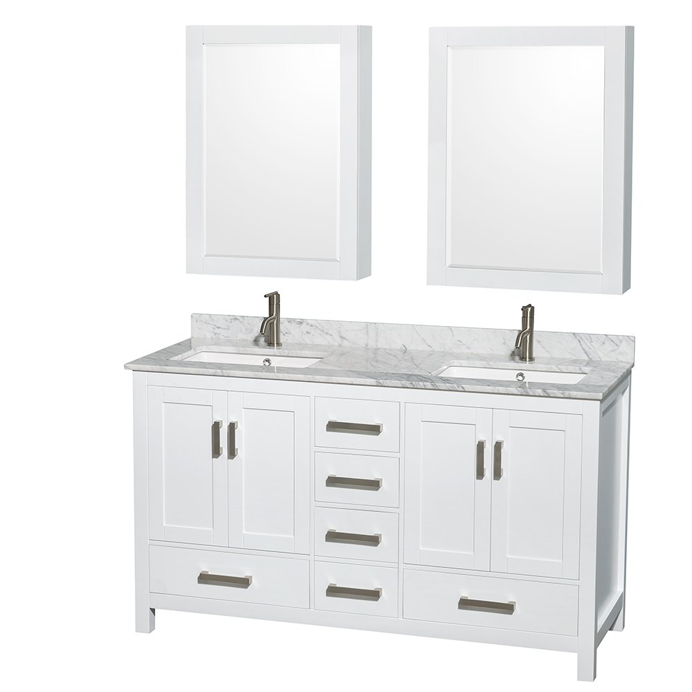 Wyndham Collection Sheffield 60 Inch Double Bathroom Vanity In White, White  Carrera Marble Countertop, Undermount Square Sinks, And Medicine Cabinets