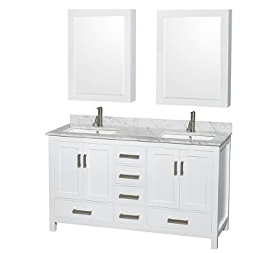 wyndham collection sheffield 60 inch double bathroom vanity in white white carrera marble countertop - 60 Inch Vanity