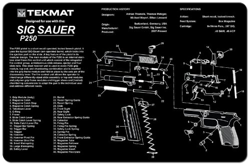 TekMat Sig Sauer P250 Cleaning Mat / 11 x 17 Thick, Durable, Waterproof / Handgun Cleaning Mat with Parts Diagram and Instructions / Armorers Bench Mat / - Part Diagram