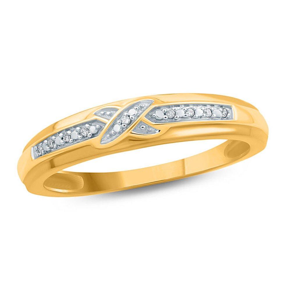 Silvercz Jewels 0.05 Ct D/VVS1 Diamond Accent Criss-Cross Ladie's Wedding Band 14K Yellow Gold