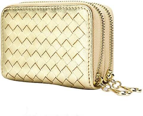 Sheepskin Weaving Rifid Card Bag Double Zipper Large Capacity Coin Purse Holder Men Ladies Wallet