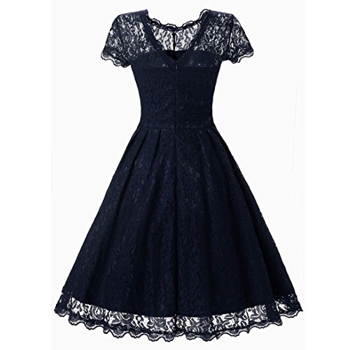 Swing Dress Lady Sleeve Floral Vintage Short Navy Lace HOPEA Party Women 4YzCqWwx8