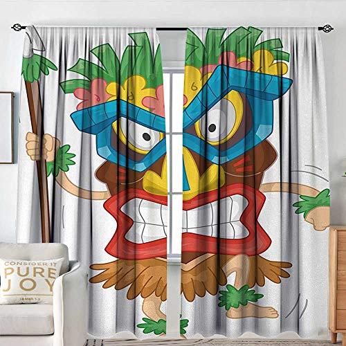 NUOMANAN Bedroom Curtains Tiki Bar,Native Man Wearing a Mask Illustration Cartoon Tribal Costume Primitive Ritual,Multicolor,Insulating Room Darkening Blackout Drapes 54