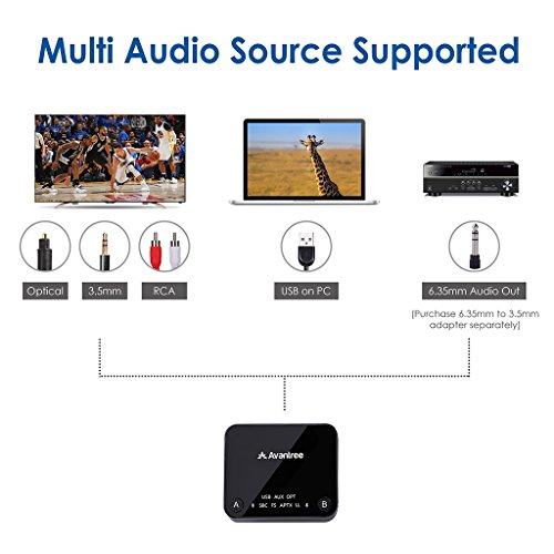 Large Product Image of 2018 Avantree Audikast aptX LOW LATENCY Bluetooth 4.2 Audio Transmitter Adapter for TV PC (Optical Digital Audio, 3.5mm AUX, RCA, USB) 100ft Long Range, Dual Link for Two Headphones, No Delay