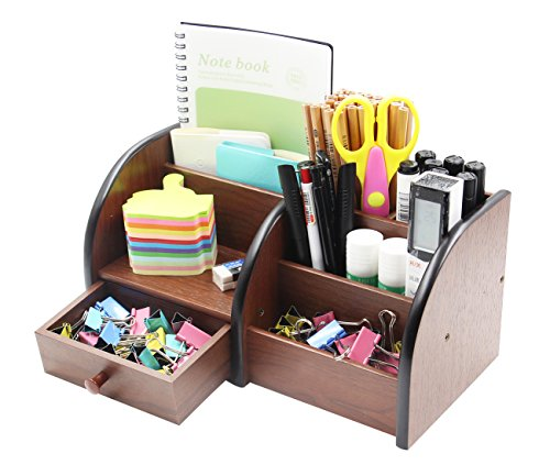 Desk Organizer Pen (PAG Office Supplies Wood Desk Organizer Pen Holder Accessories Storage Caddy with Drawer, 7 Compartments, Brown)