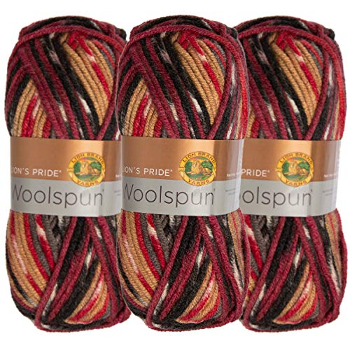 Lion Brand (3 Pack) Woolspun Acrylic & Wool Soft Campfire Print Red Black Tan Yarn for Knitting Crocheting Bulky #5