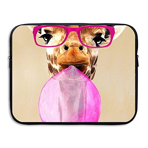 Custom Laptop Sleeve 13/15 Inch Chromebook Zipper Briefcase Cool Giraffe Blow Bubbles Print Portable Messenger Bag