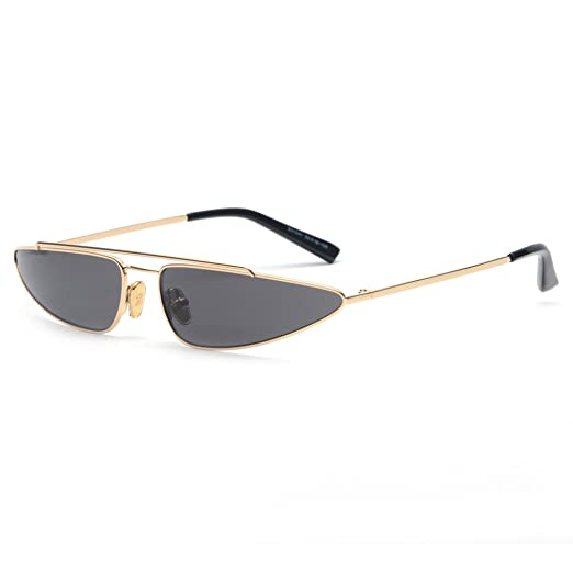 e56262b20f943 Small Triangle Sunglasses Cat Eye Metal Frame Retro Vintage Sun Glasses  Women (gold with black
