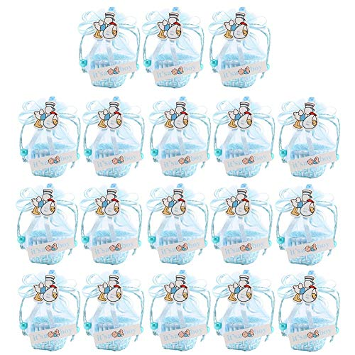 CheeseandU Baby Shower Favors 18Pack Creative Duck Candy Gift Bags Small Lace Baskets with Adorable Ribbon&Card Decor Cute Party Favor Basket Candy Boxes for Baby Boys Girls Birthday Wedding,Blue