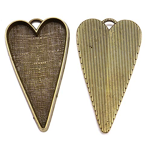 (JETEHO 20 Pack Bronze Color Heart Shaped Pendant Trays Bezel Cabochon Settings Trays Pendant Blanks for Jewelry Making)