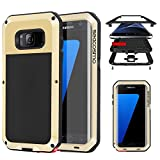 Seacosmo Protective Case for Galaxy S7 Edge, Military Rugged Heavy Duty Aluminum Shockproof Dual Layer Bumper Cover, Gold