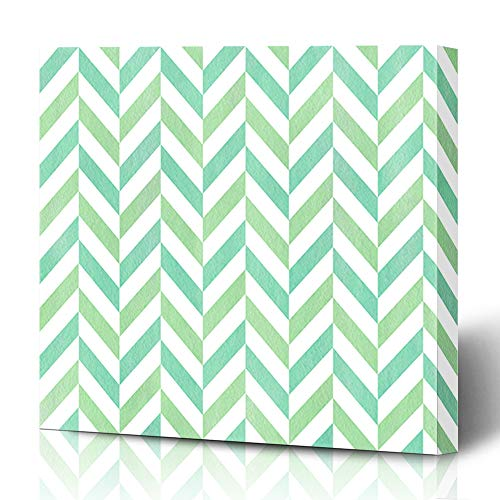 Ahawoso Canvas Prints Wall Art 16x16 Inches Watercolor Paint Chevron Mint Green Seafoam Blue Geometry Pattern Stripes Abstract Classic Color Decor for Living Room Office Bedroom