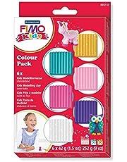 Staedtler FIMO Kids, Assortiment de 6 pains de pâte FIMO ultra-souple de couleur vive et brillante, Spécialement adapté pour les enfants, 8032 02