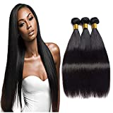 Brazilian Straight Hair 3 Bundles 100% Raw Unprocessed Human Hair Extensions Double Weft
