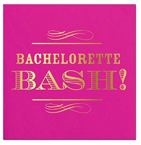 Hot Pink Beacherlorette BASH! Foil Design Cocktail Party Napkins - 20 (Bachelorette Party Napkins)