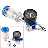1pc 150mm In-Line Water Trap Filter with Air Pressure Regulator Gauge Spray Tool 1/4 thread 0-140PSI/10Bar