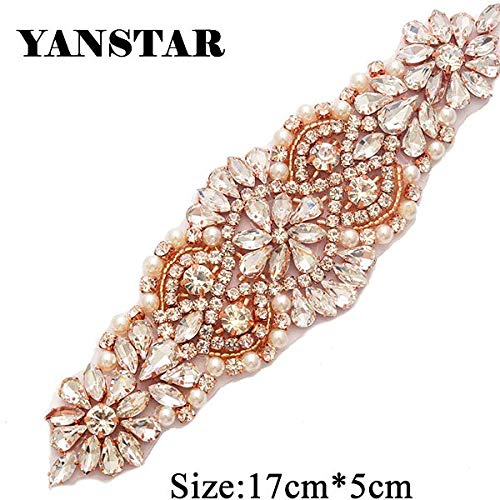 Best Quality - Rhinestones - Rhinestone Appliques for Wedding Belt Rose Gold Crystal Beads Sew On Rhinestone Appliques Bridal Accessories - by Olwen Shop