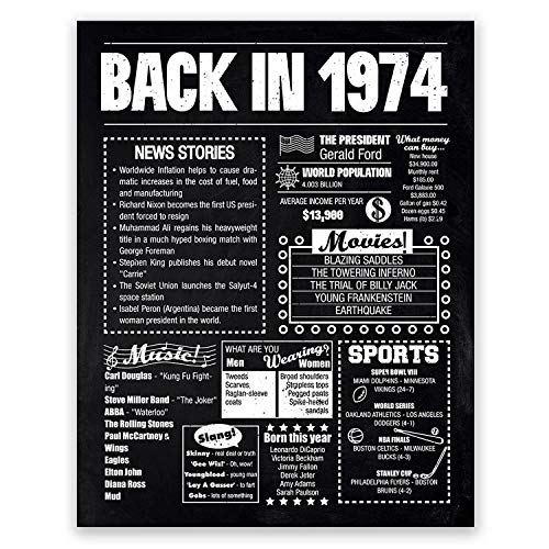 8x10 1974 Birthday Gift // Back in 1974 Black and White Poster // 45th Birthday Gift // 45th Party Decoration // 45th Birthday Sign // Born in 1974 Print