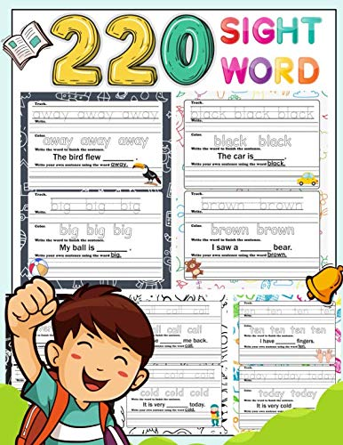 220 Sight Word: High-frequency sight word worksheets 5 Level for Pre-primer Primer First Second and Third or Preschoolers to 3rd Grade That are Key to Reading Success