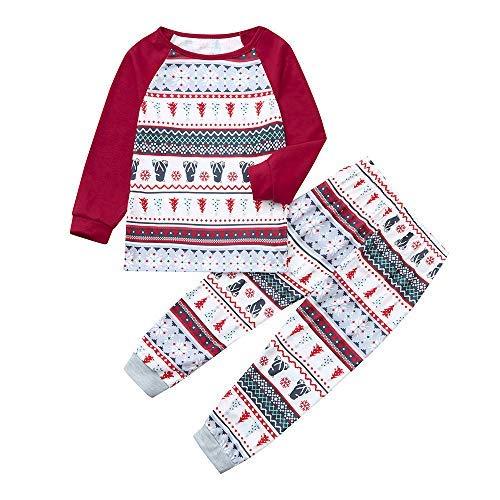 Haluoo Family Matching Sleepwear Snowflake Bear Print Christmas Sleepwear Nightgown Knit Holiday Mix Match Pajamas PJs Collection (Baby,5-6 Years)